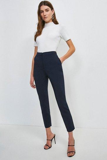 Navy Cotton Sateen Trouser