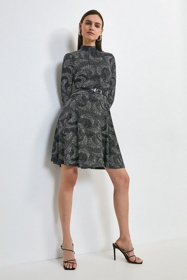 Mono Swirl Spot Printed Jersey Funnel Neck Dress