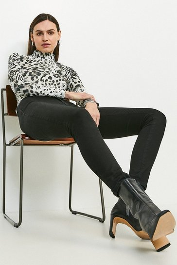 Animal Snow Leopard Printed Jersey Funnel Neck Top