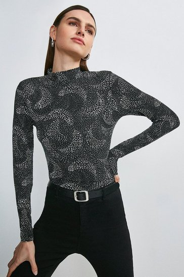Mono Swirl Spot Printed Jersey Funnel Neck Top