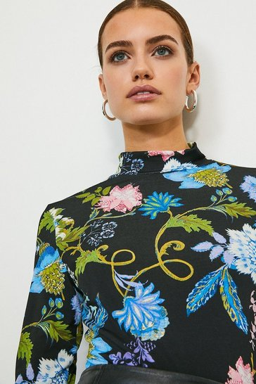Folk Floral Printed Jersey Funnel Neck Top