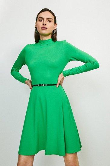 Bright green Long Sleeve Funnel Neck Viscose Jersey Dress