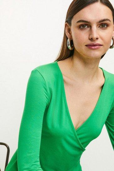 Bright green Long Sleeve Wrap Viscose Jersey Top