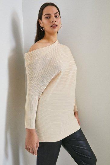 Oatmeal Curve Slinky Knitted Rib Drape Shoulder Top