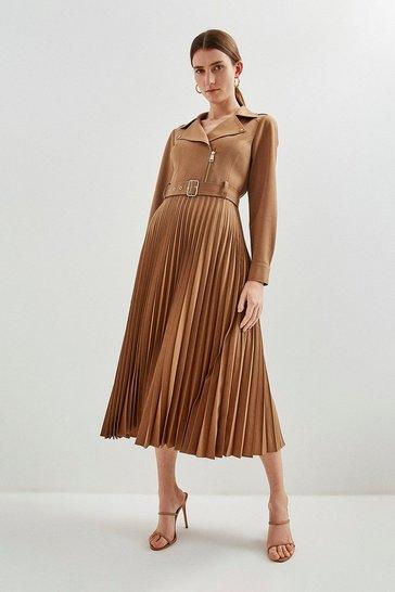 Camel Polished Stretch Wool Blend Biker Pleat Dress