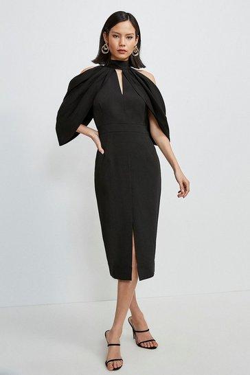 Black Compact Stretch Viscose Cold Shoulder Dress