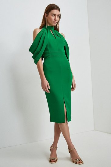 Bright green Compact Stretch Viscose Cold Shoulder Dress