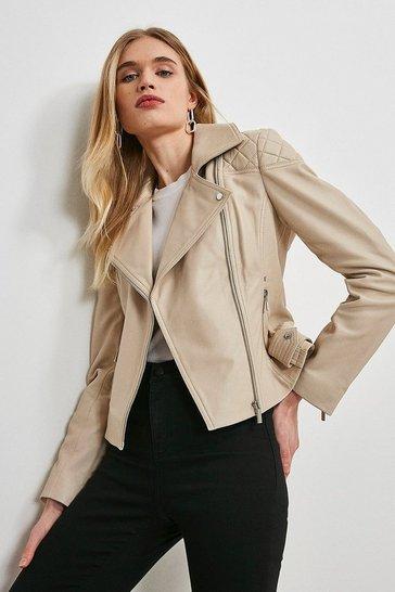 Cream Quilt Panelled Leather Biker Jacket