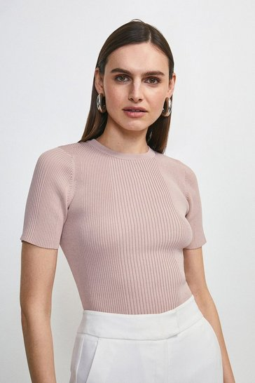 Blush Ribbed Crew Neck Knitted Tee