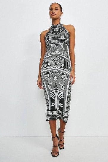 Mono Halter Neck Jacquard Knitted Dress