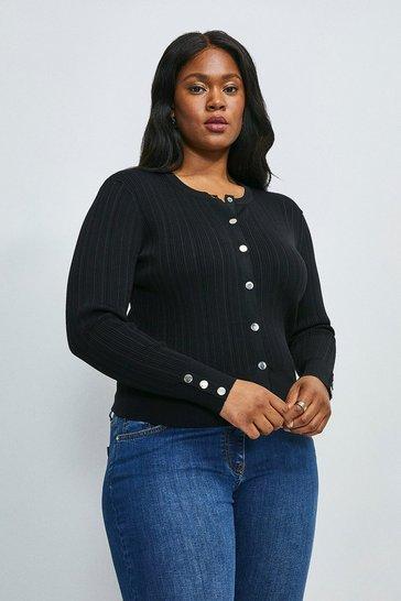 Black Curve Knitted Rib Cardigan