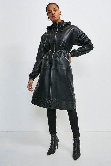 Black Leather Quilted Hem Panel Parka Coat