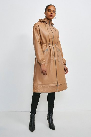 Tan Leather Quilted Hem Panel Parka Coat