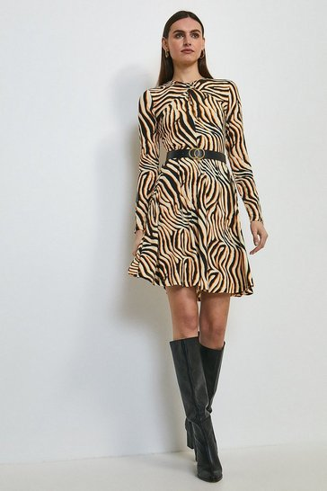 Orange Zebra Print Jersey Twist Neck Belted Dress
