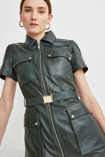 Olive Leather Zip Front  Perforated  Mini Dress