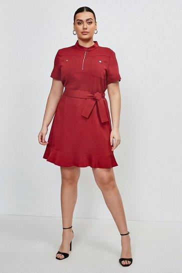 Brick red Curve Stretch Viscose Pocket Dress