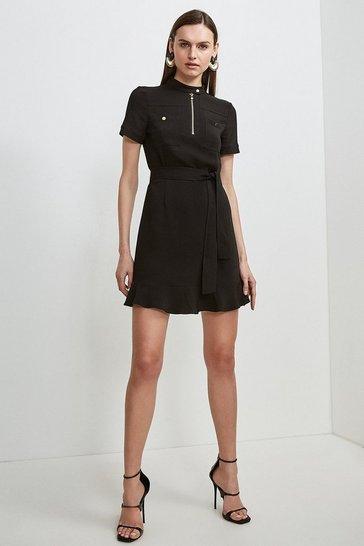 Black Compact Stretch Viscose Pocket Dress