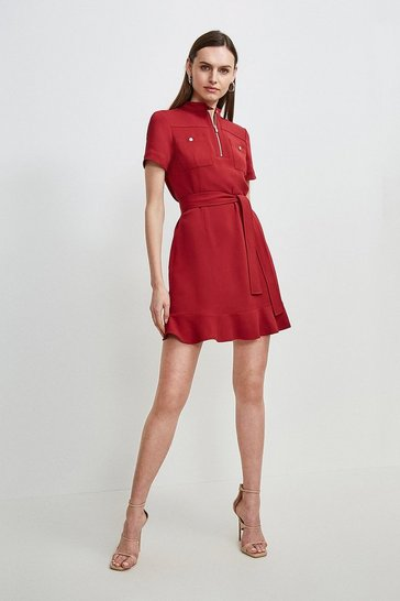 Brick red Compact Stretch Viscose Pocket Dress