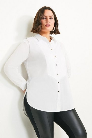 White Curve Shoulder Tab Detail Shirt