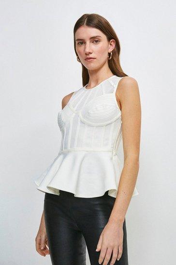 Ivory Bandage Bodice Knit Peplum Top