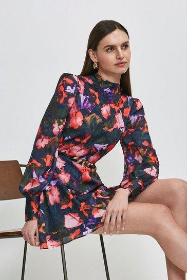 Navy Neon Rose Printed Short Dress