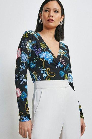 Black Folk Floral Printed Jersey Wrap Top