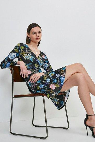 Black Folk Floral Printed Jersey Belted Wrap Dress