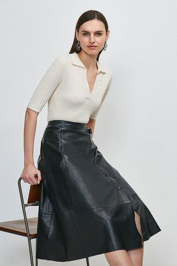 Black Leather Popper Wrap Midi Skirt