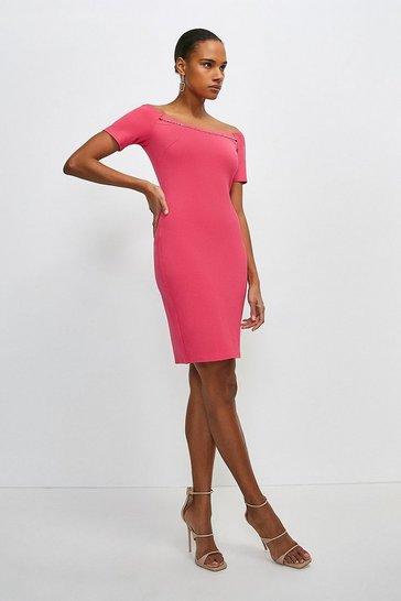 Bright pink Chain Detail Jersey Bardot Dress