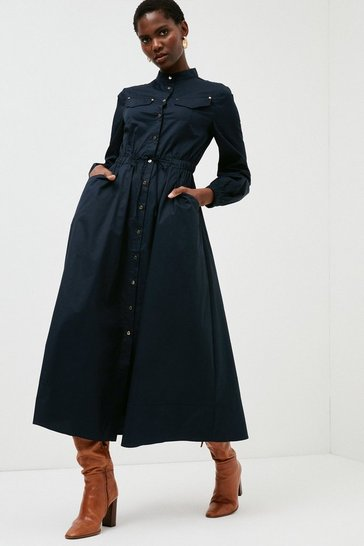 Navy Cotton Sateen Balloon Sleeve Dress