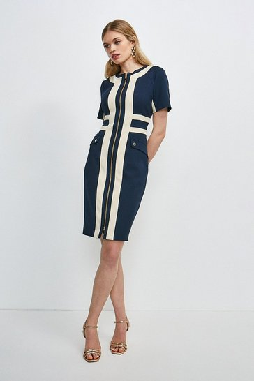 Navy Structured Crepe Panelled Zip Front Dress