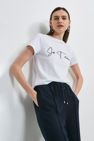 White Je'taime Embroidered Slogan Jersey T-shirt