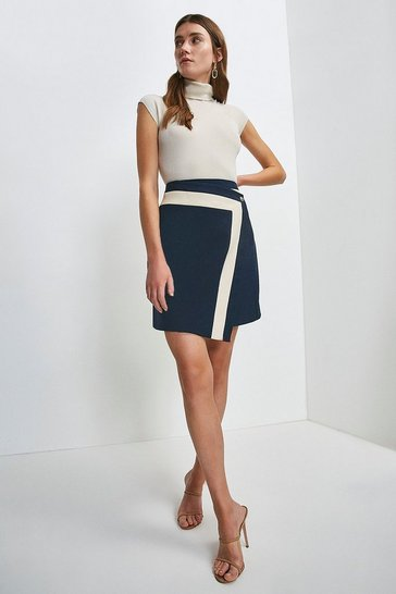 Navy Structured Crepe Panelled A Line Skirt