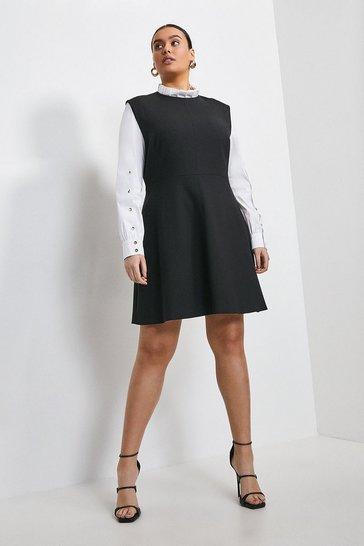 Black Curve Compact Stretch Sleeved A Line Dress