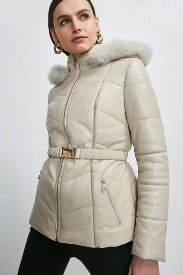 Natural Leather Hooded Padded Puffer