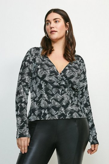Snake Curve Long Sleeve Printed Jersey Wrap Top