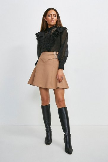 Camel Compact Stretch Buckle Detail A Line Skirt