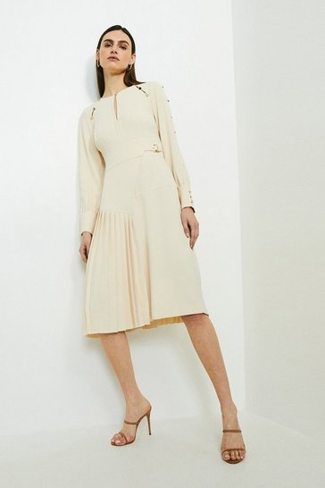 Cream Long Sleeve Military Pleat Midi Dress