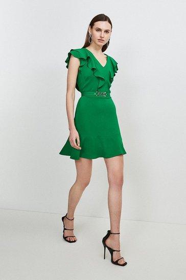 Bright green Compact Stretch Viscose Ruffle Dress