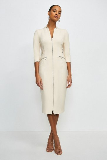 Cream Forever Faux Leather Panelled Pencil Dress