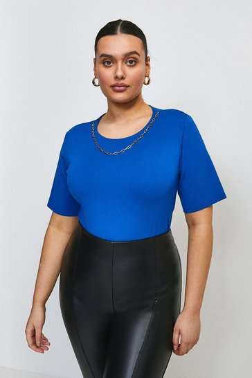 Cobalt Curve Chain Detail Scoop Neck Jersey Top