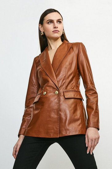 Tan Leather Fitted Gold Button Db Jacket