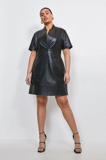Black Curve Leather Collar Wrap Stitch Detail Dress