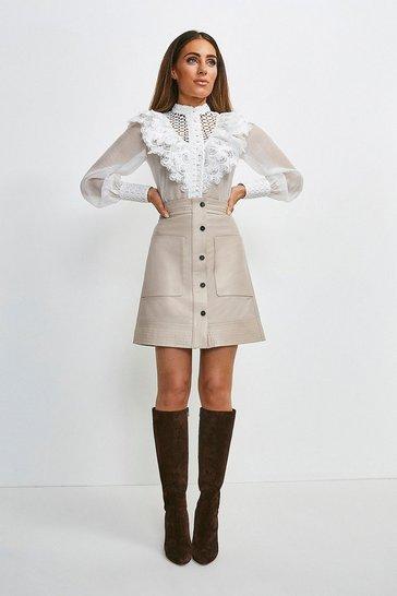 Nude Leather Multi Stitch Popper Mini Skirt