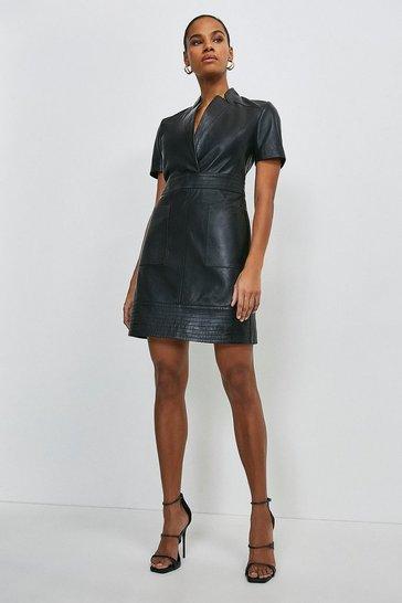 Black Leather Collar Wrap Multi Stitch Dress