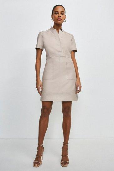 Nude Leather Collar Wrap Multi Stitch Dress