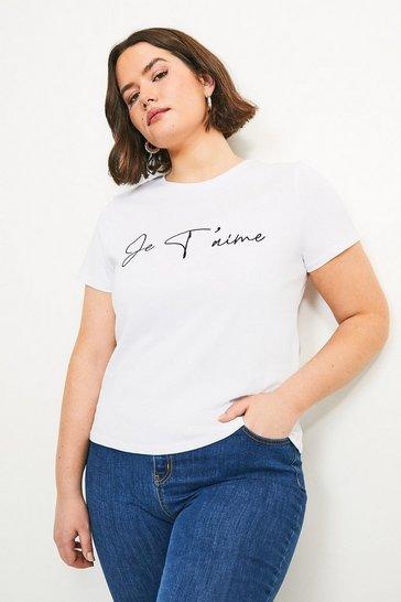 White Curve Je'taime Slogan Jersey T-shirt