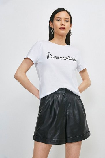 White Eternite Flocked Slogan Jersey T-shirt