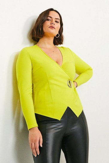 Lime Curve Strong Shoulder Eyelet Ponte Top