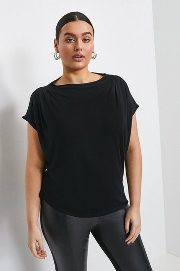 Black Curve Viscose Jersey Cowl Neck Top